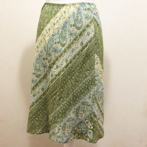 The Limited 100% silk skirt green paisley floral M